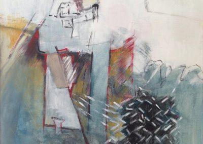 Los van elkaar, maar toch verbonden – acryl op board – 50 x 65 cm