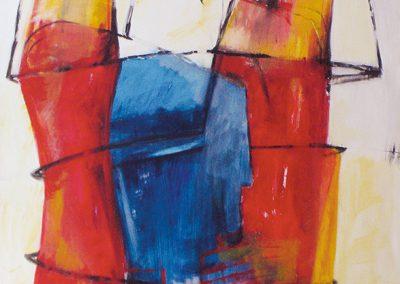 Tussen rood en blauw – acryl op canvas – 100 x 100 cm