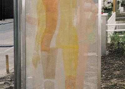 Deuren, ontmoeting - metaalgaas op gaas en frame van roestvrij staal - Almere Buiten
