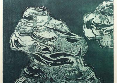 Losgelaten - kleurets, aquatint - 50 x 65 cm