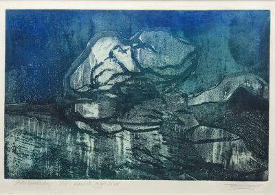 Rotslandschap - kleurets, aquatint - 50 x 65 cm