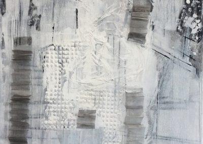 Zonder titel - metaal gaas op doek, acryl - mixed media - 50 x 60 cm